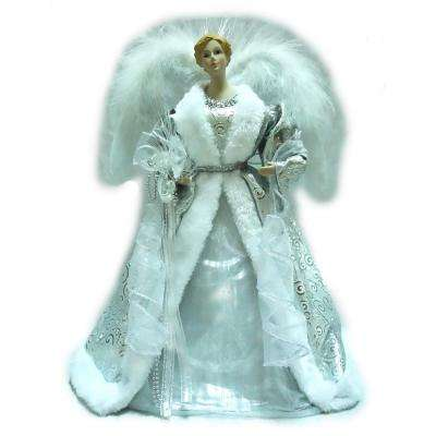 18 in. Silver LED Fiber Optic Angel