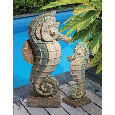 Sea Biscuit Seahorse Marine Fish Family Collection Statue Set (2-Piece)