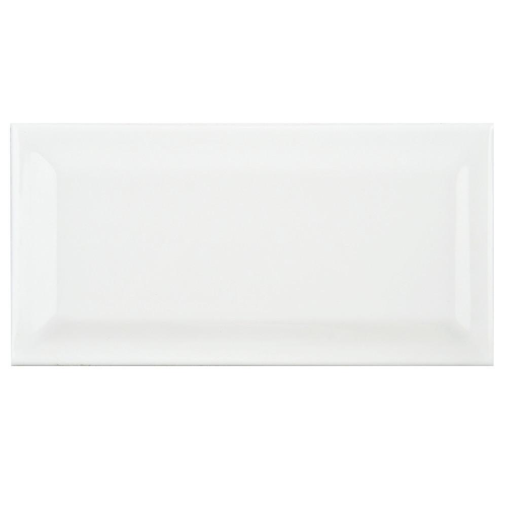 white beveled subway tile | Merola Tile Park Slope Subway Beveled Glossy White 3 in. x ...