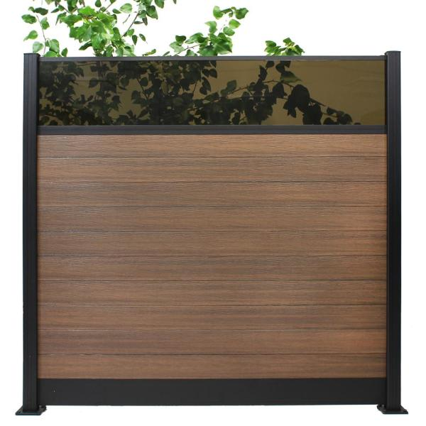 Euro Style 6 ft. H x 6 ft. W Acrylic Top King Cedar Aluminum/Composite Horizontal Fence Section Panel