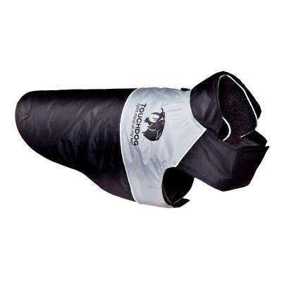 Large Black and Grey Lightening-Shield Waterproof 2-in-1 Convertible Dog Jacket with Blackshark Technology