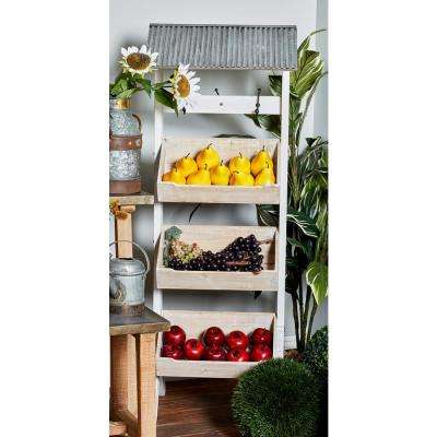 Natural Brown Wood 3-Tier Roofed Display Rack with Hooks