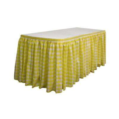 17 ft. x 29 in. Long White and Light Yellow Polyester Gingham Checkered Table Skirt with 10 L-Clips