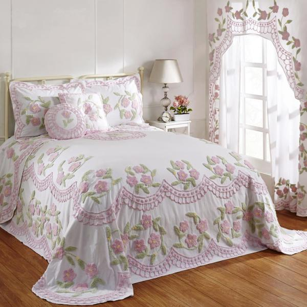 Bloomfield Collection in Floral Design Rose King 100% Cotton Tufted Chenille Bedspread