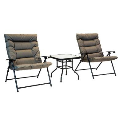 3-Piece Steel Frame Folding Outdoor Bistro Set with Olive Cushions and Dark Powder Frame