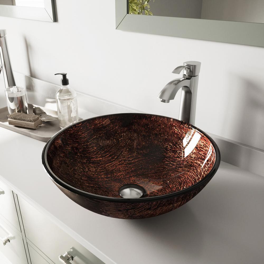 Glass Vessel Bathroom Sink in Brown Kenyan Twilight with Otis Faucet Set in Brushed Nickel
