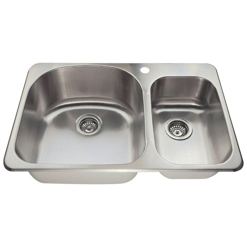 Polaris Sinks Drop-in Stainless Steel 31-1/8 in. 1-Hole Double Bowl Kitchen Sink