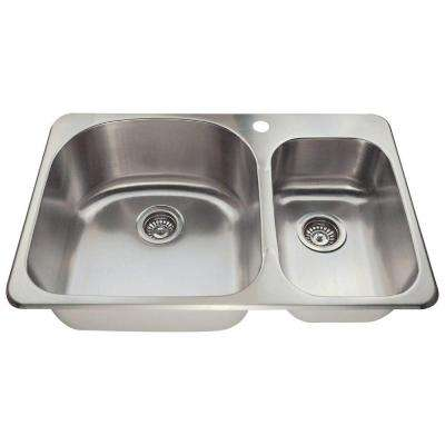 Drop-in Stainless Steel 31-1/8 in. 1-Hole Double Bowl Kitchen Sink