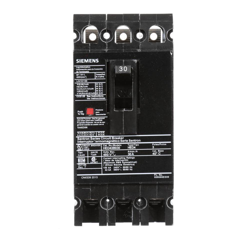 siemens 30 amp 3 pole type ed 42 ka circuit breaker hed43b030 the home depot. Black Bedroom Furniture Sets. Home Design Ideas