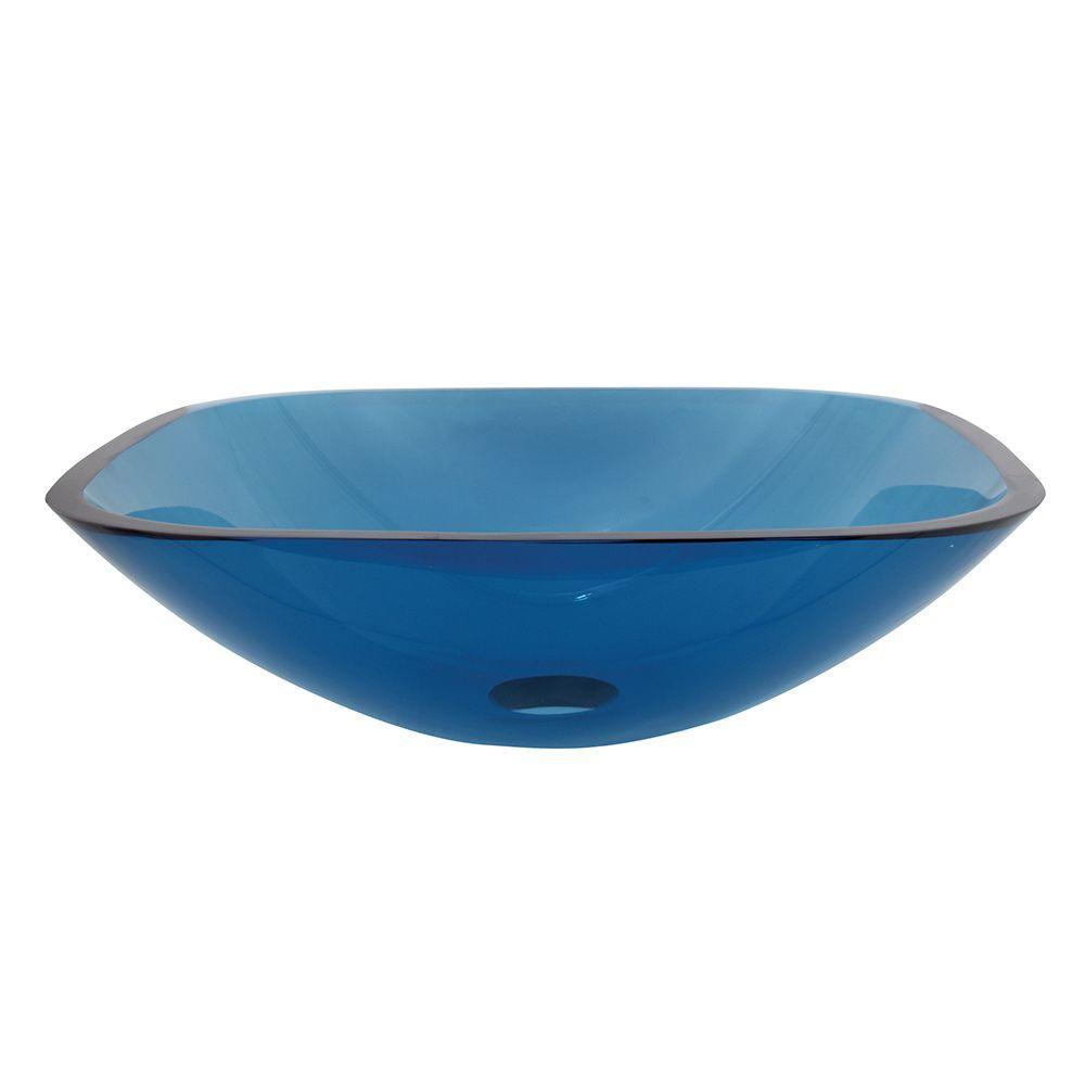 Square Glass Vessel Sink in Blue