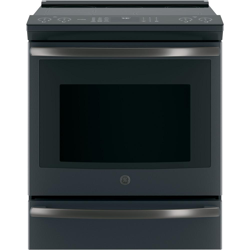 GE Profile 5.3 cu. ft. Slide-In Smart Induction Range with Self-Cleaning Convection Oven in Black Slate