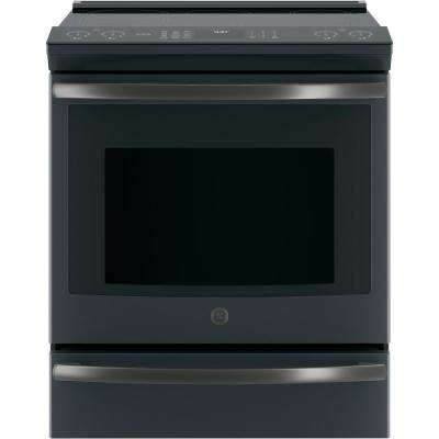 Profile 5.3 cu. ft. Slide-In Smart Induction Range with Self-Cleaning Convection Oven in Black Slate