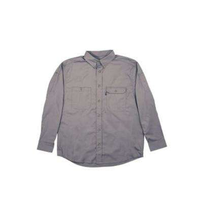 Men's Large Tall Titanium Cotton and Polyester Duck Light-Weight Canvas Utility Shirt