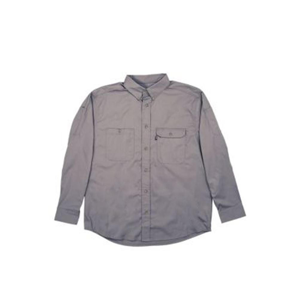 Men's 5 XL Tall Titanium Cotton and Polyester Duck Light-Weight Canvas Utility Shirt