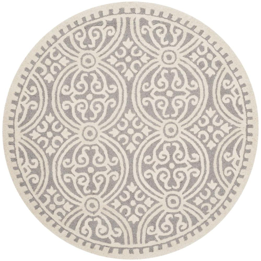 Safavieh Cambridge Silver Ivory 4 Ft X 4 Ft Round Area Rug Cam123d 4r The Home Depot