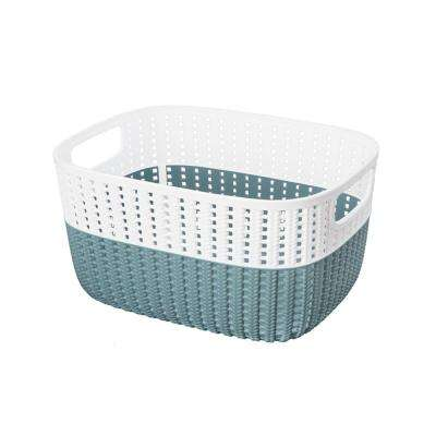 15 in. x 11 in. x 7 in. 2-Tone Decorative Large Storage Basket in Marine