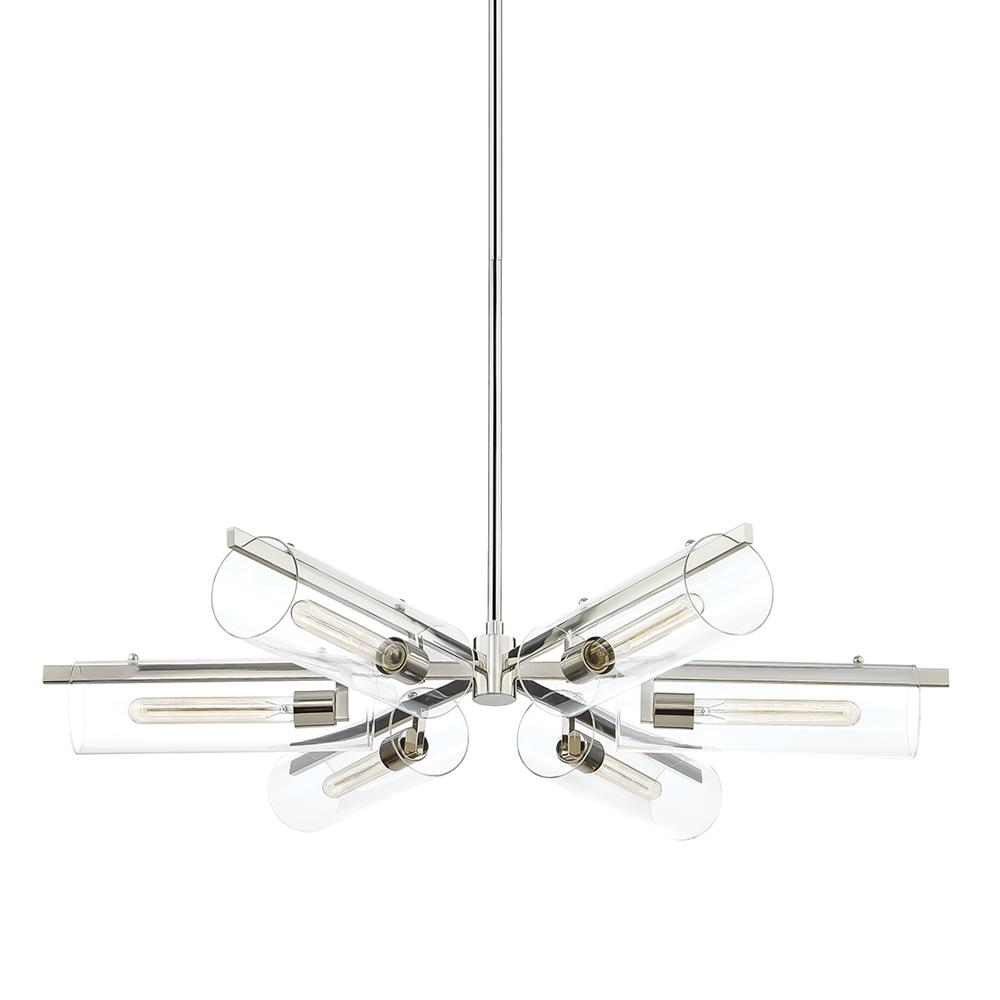HUDSON VALLEY LIGHTING Ariel 6-Light Polished Nickel Chandelier with Clear Shade was $1125.0 now $675.0 (40.0% off)