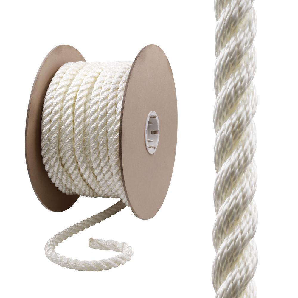 Everbilt 3/4 in. x 150 ft. Nylon Twist Rope, White