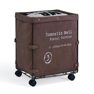 Domestic Mail Brown Collapsible Canvas Laundry Hamper with Wheels