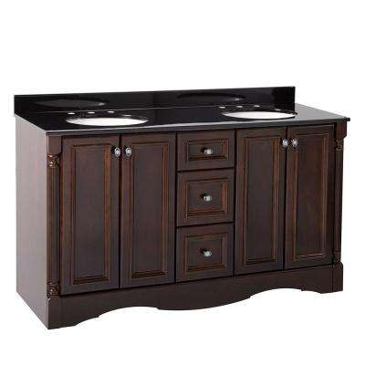 Valencia 61 in. Vanity in Chestnut with Color Point Vanity Top in Black with White Basin