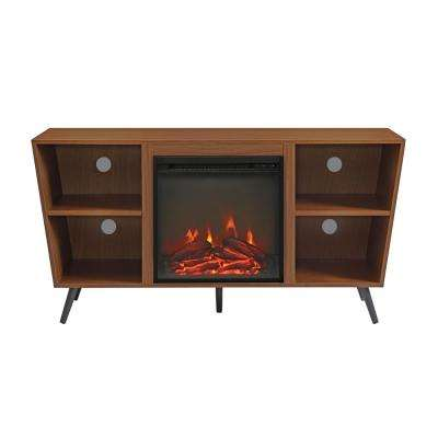 52 in. Pecan Angled Side Fireplace Console with Metal Legs