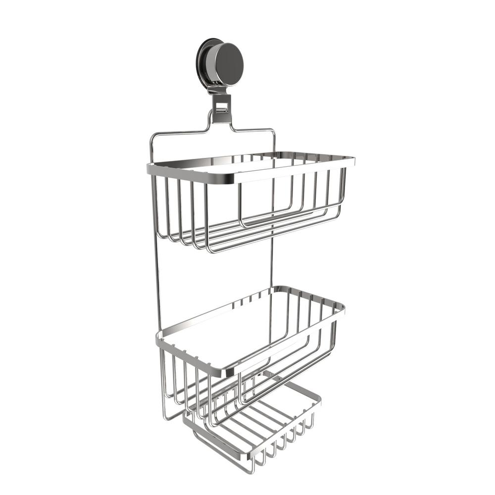 Hanging 3-Tier Shower Caddy with Twist Lock Suction Cup in Stainless