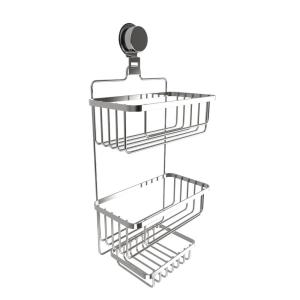 Lavish Home Hanging 3-Tier Shower Caddy with Twist Lock Suction Cup in Stainless Steel by Lavish Home
