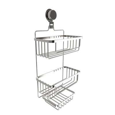 Hanging 3-Tier Shower Caddy with Twist Lock Suction Cup in Stainless Steel