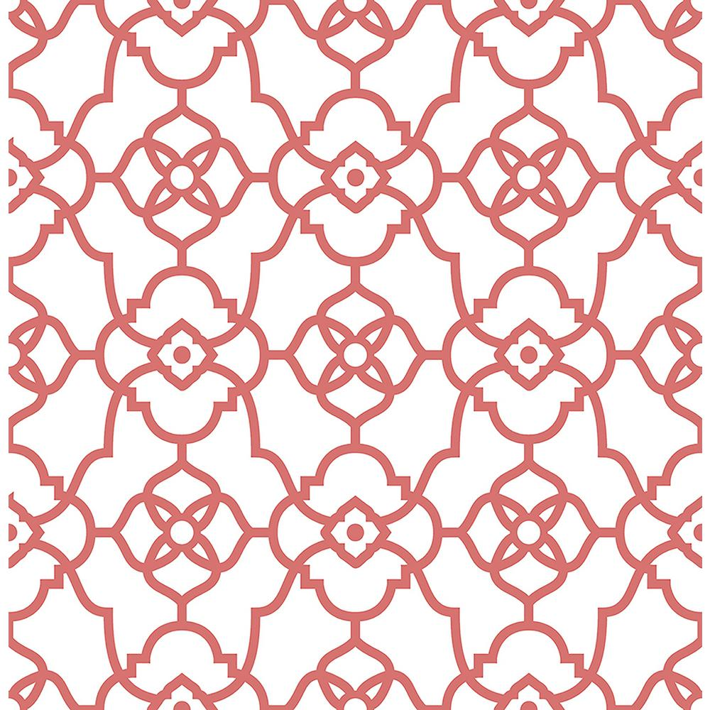 a street atrium coral trellis wallpaper sample - Trellis Wall Paper