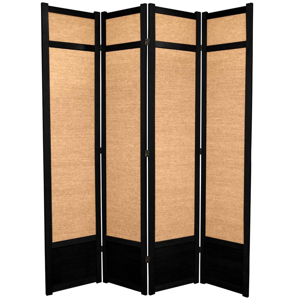 7 ft. Black 4-Panel Room Divider
