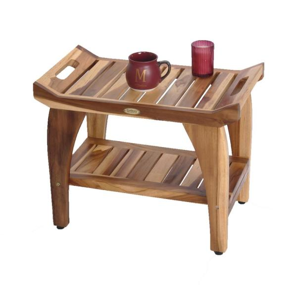 Ecodecors Earthyteak Tranquility 24 In Teak Shower Bench With Shelf Ed941 The Home Depot
