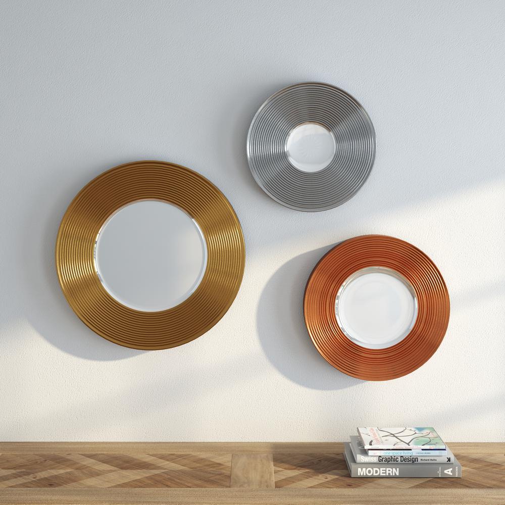 Southern Enterprises Morrison 3-Piece Metallic Round Mirror Set