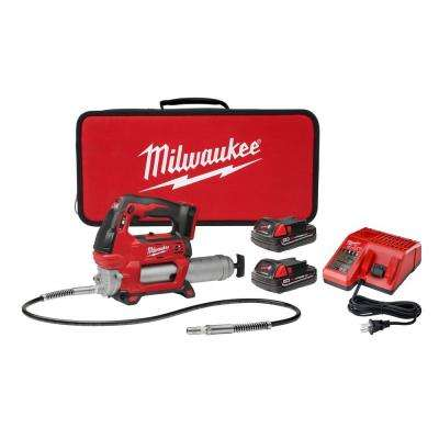 M18 18-Volt Lithium-Ion Cordless Grease Gun 2-Speed with (2) 1.5Ah Batteries, Charger, Tool Bag
