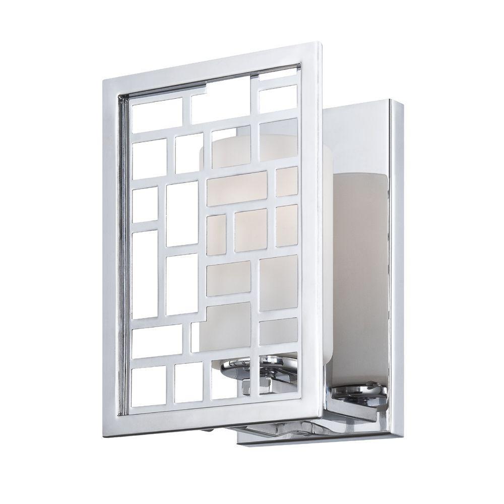 Trellis 1-Light Chrome Interior Incandescent Bath Vanity Light