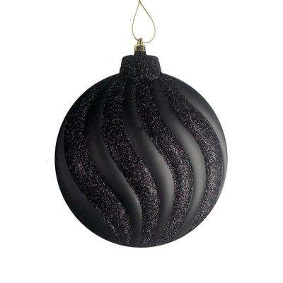 6.25 in. Matte Jet Black Glitter Swirl Shatterproof Christmas Disc Ornaments (6-Count)