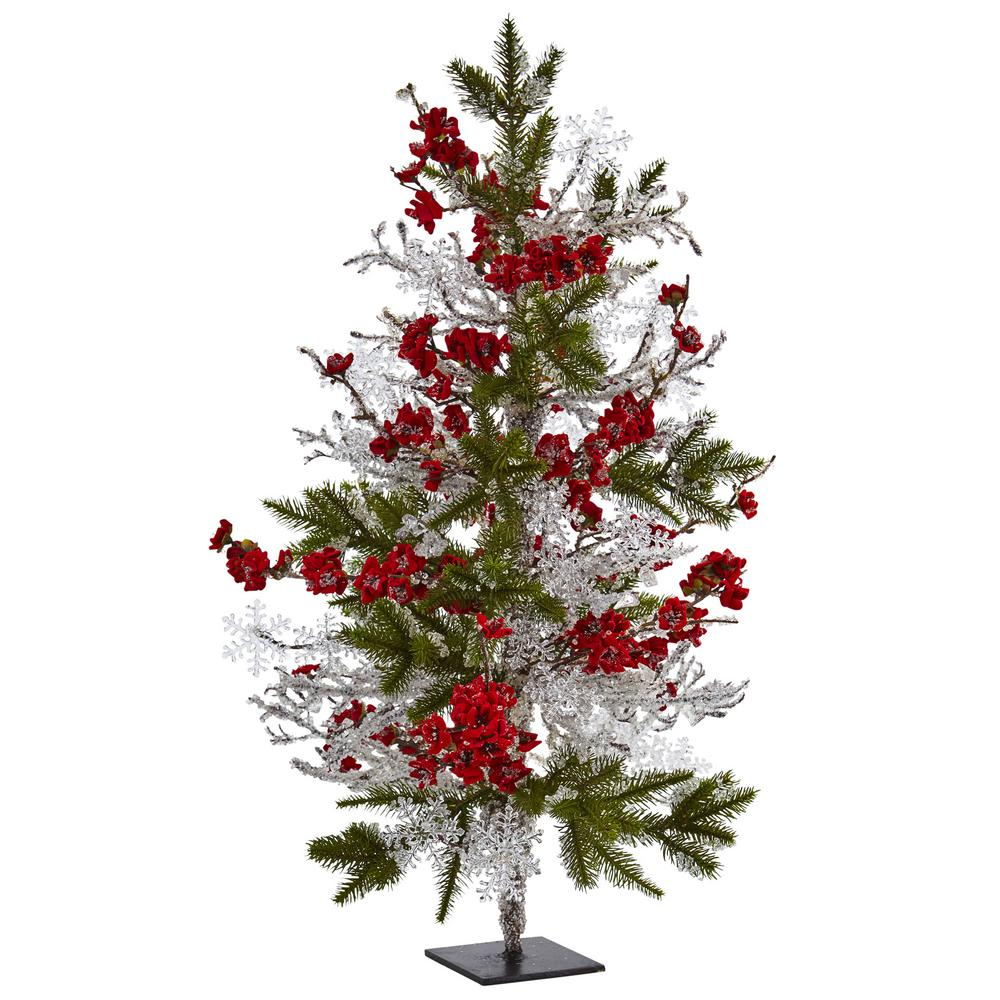 Nearly Natural 26 in. Plum Blossom Pine Ice Twig Tree, Red