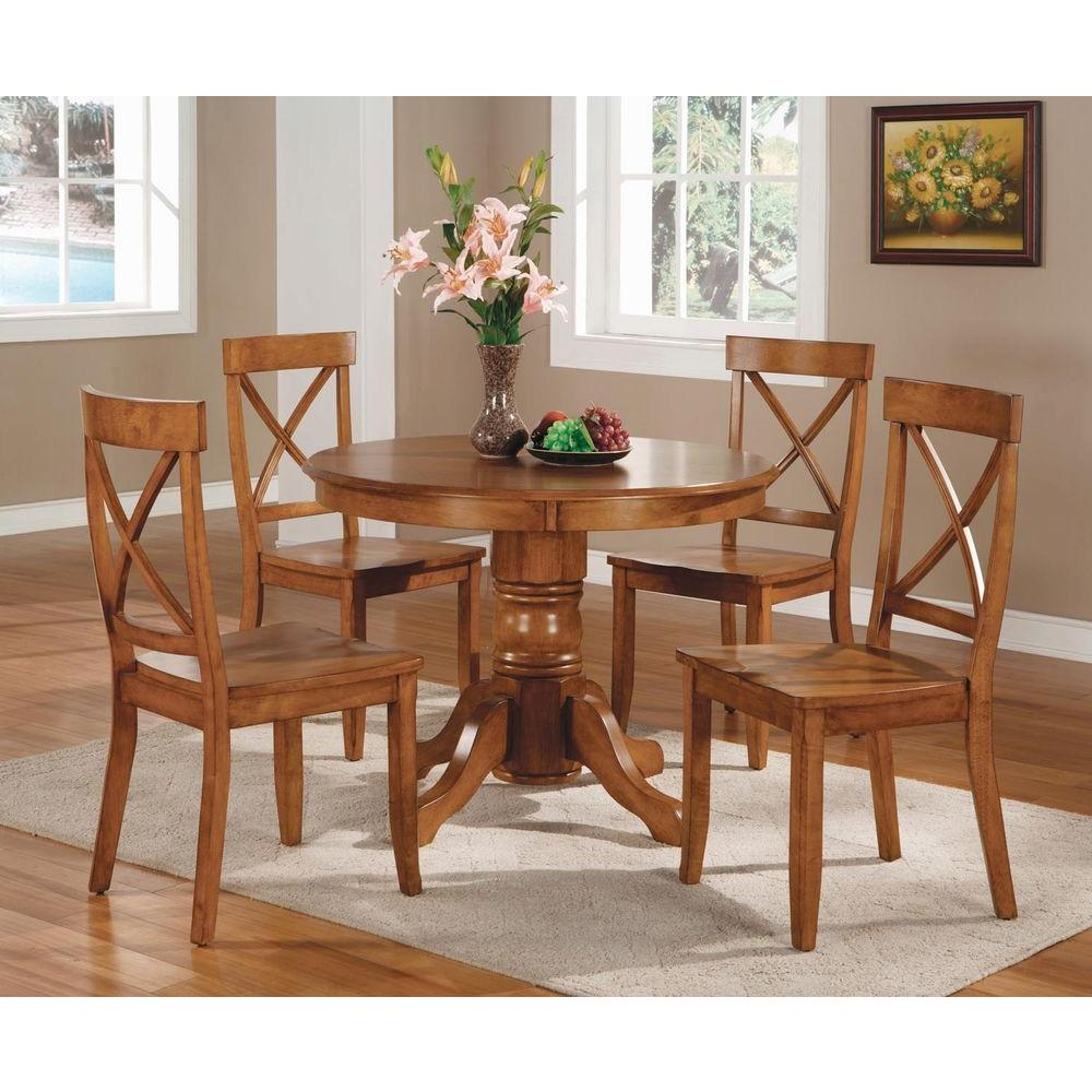 home styles 5 piece oak dining set 5179 318 the home depot. Black Bedroom Furniture Sets. Home Design Ideas
