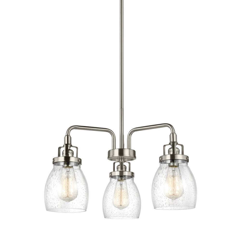 Sea gull lighting belton 3 light brushed nickel chandelier 3114503 sea gull lighting belton 3 light brushed nickel chandelier 3114503 962 the home depot arubaitofo Choice Image