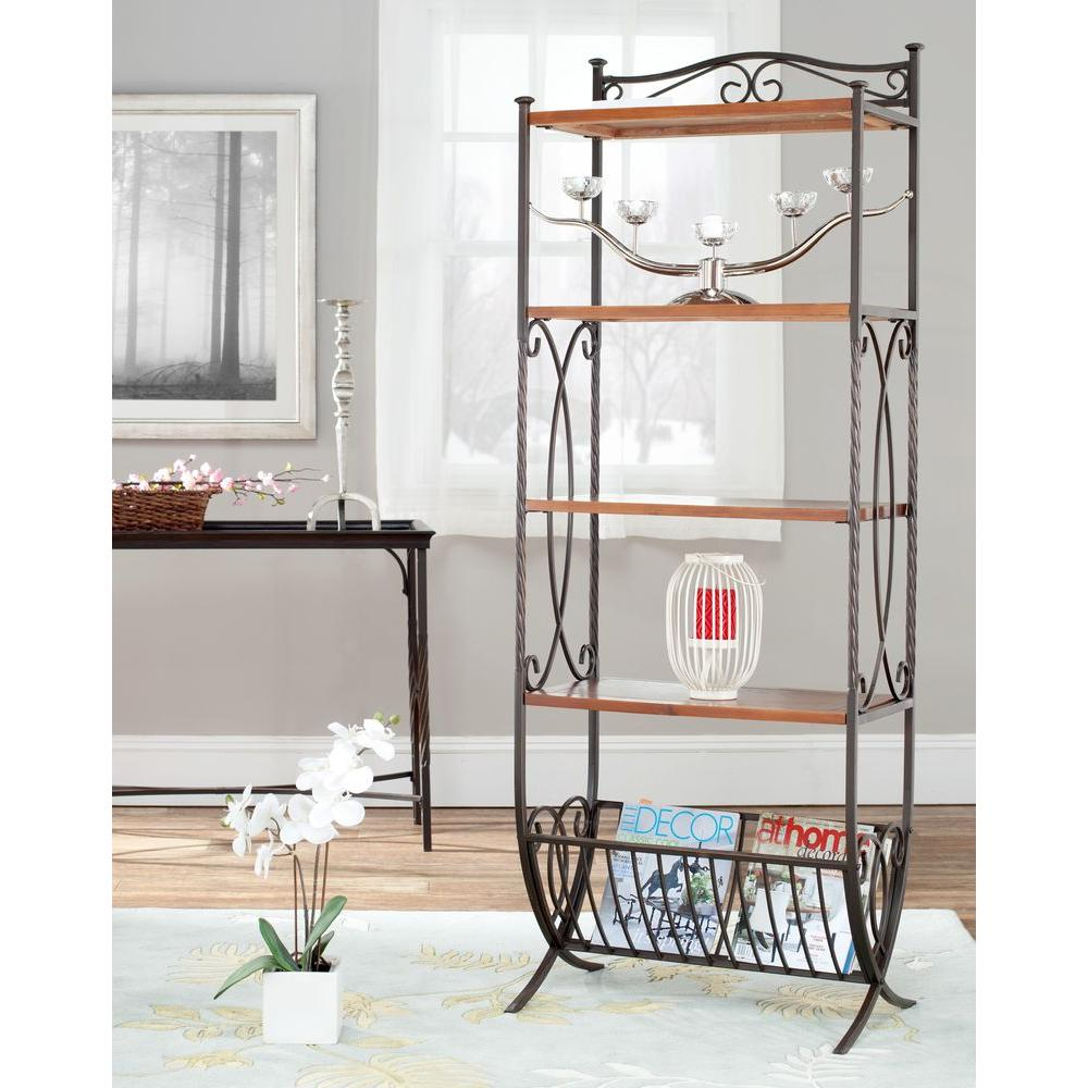 Safavieh Alexandra 4-Shelf Etagere in Dark Walnut