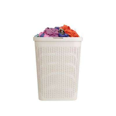 40 Liter Ivory Plastic Laundry Basket Hamper with Cutout Handles