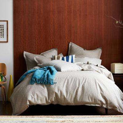 Scribble Taupe Organic Twin Duvet Cover