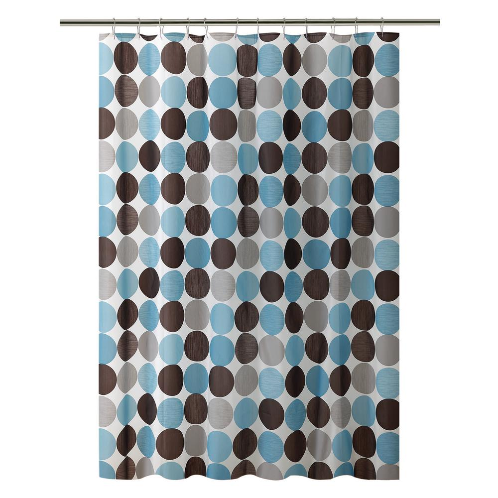 Bath Bliss Peva 70 In X 72 Blue And Grey Circles Design Shower Curtain
