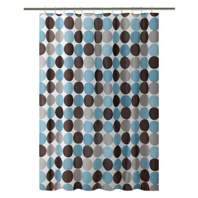PEVA 70 in. x 72 in. Blue and Grey Circles Design Shower Curtain