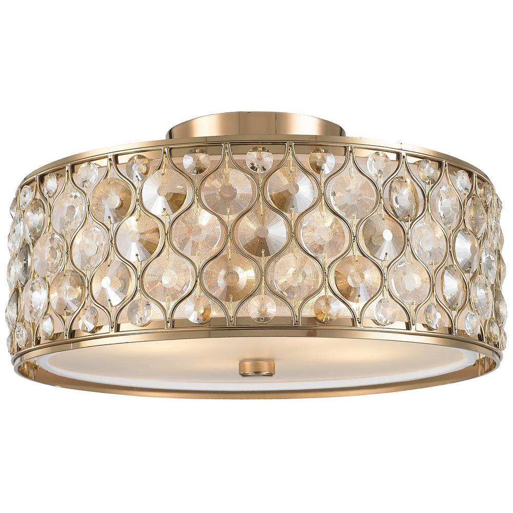 Paris 4-Light Champagne with Clear and Golden Teak Crystal Flushmount