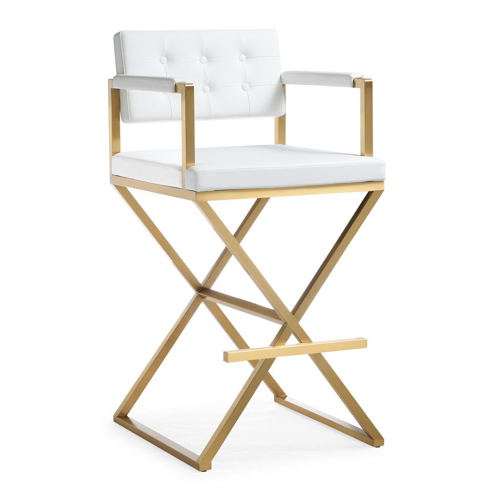Genial TOV Furniture Director White Gold Steel Barstool