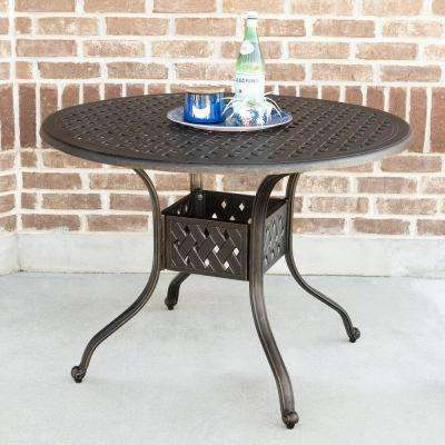 42 in. Round Cast Aluminum Patio Dining Table in Antique Bronze