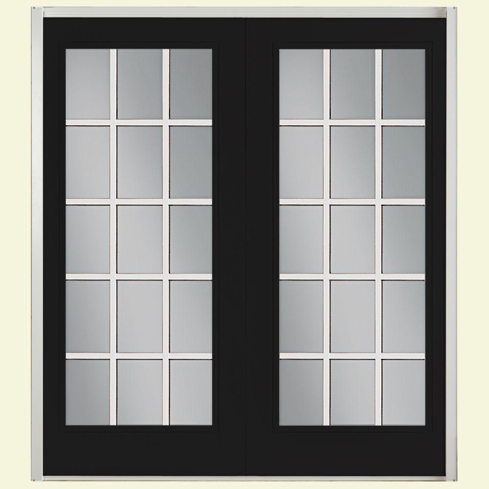 Masonite 72 in. x 80 in. Jet Black Prehung Right-Hand Inswing 15 Lite Fiberglass Patio Door with No Brickmold in Vinyl Frame
