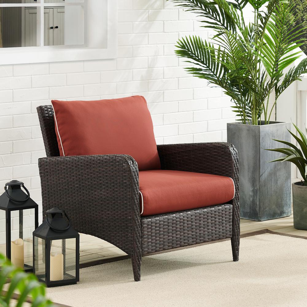 Kiawah Wicker Outdoor Lounge Chair with Sangria Cushions