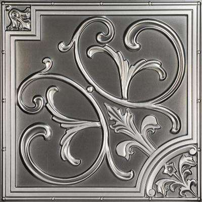 Lillies and Swirls 2 ft. x 2 ft. PVC Glue-up or Lay-in Ceiling Tile in Antique Silver