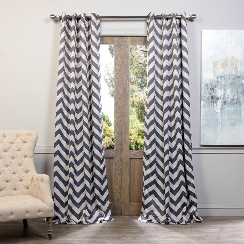 Semi-Opaque Fez Grey and Tan Grommet Blackout Curtain - 50 in.
